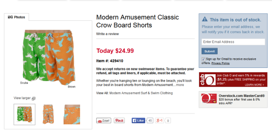 Modern Amusement Classic Crow Board Shorts - Overstock.com Shopping - Big Discounts on Modern Amusement Swimwear 2014-06-19 01-29-02